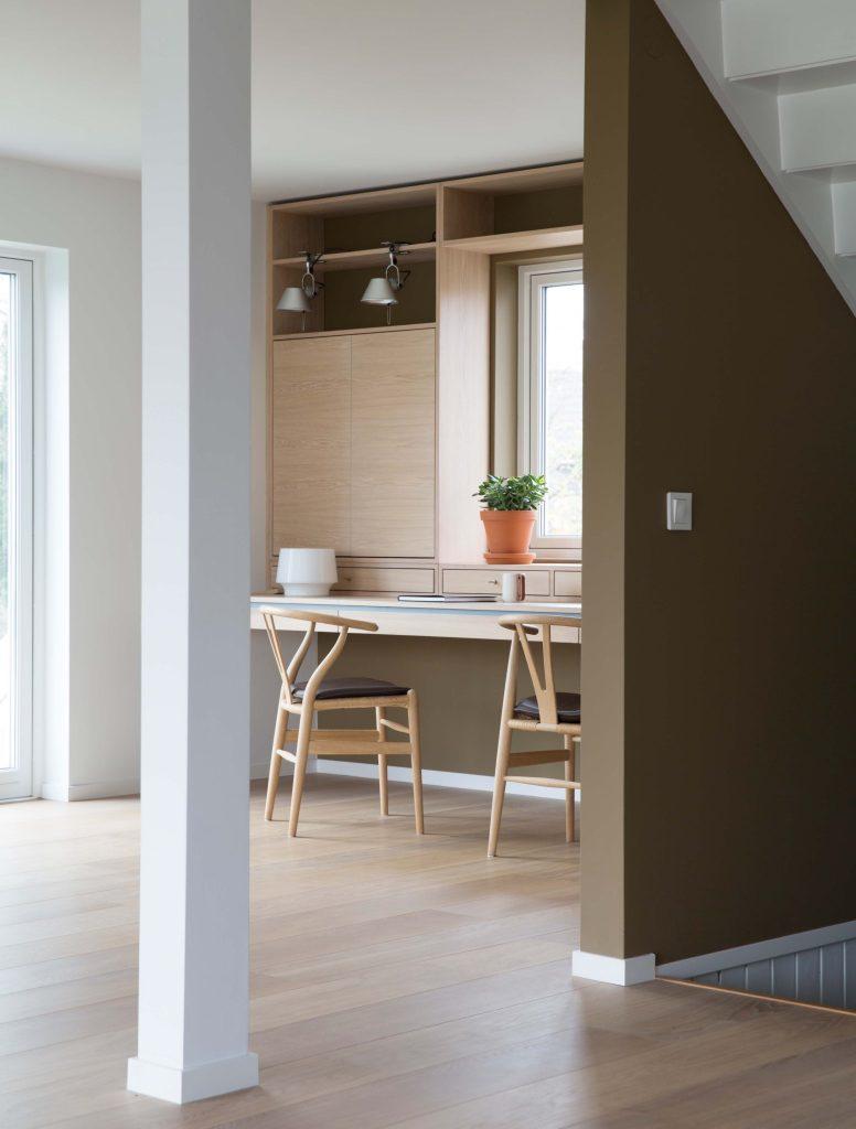 Nyfelt og Strand interiørarkitekter, enebolig nøtterøy, spesialinnredning, skrivebord